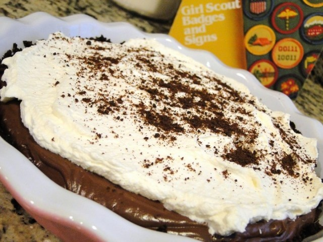 """Filling recipe used for Kathy's """"Mint to Be"""" Thin Mint Pie"""