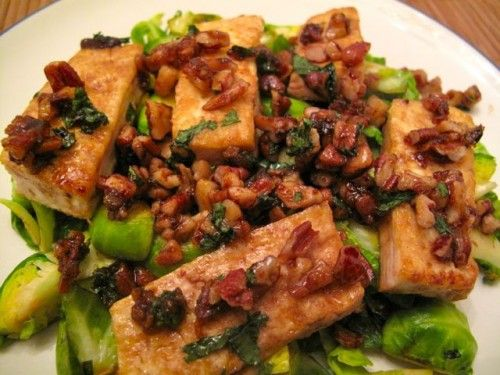 ... of my favourites - Caramelized Tofu with Pecans and Brussels Sprouts