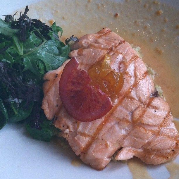 Grilled salmon blood orange freekeh kumquat vinaigrette #tgwh