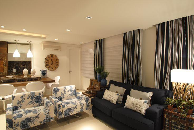 Sala De Estar Com Azul Marinho ~ Sofá azul marinho e poltronas floral  For the Home  Pinterest