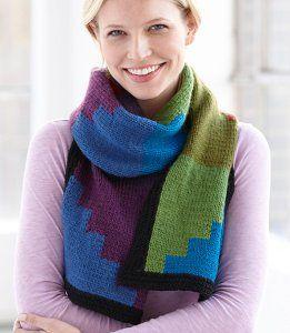 Knit Picky Patterns From Allfreeknitting : FREE KNITTING PATTERN COLOR BLOCK SCARF   KNITTING PATTERN