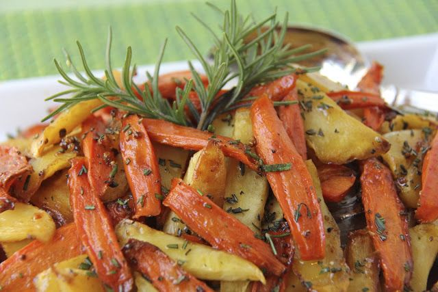 ... Sticky Roasted Rosemary Root Veggies .....carrots and parsnips