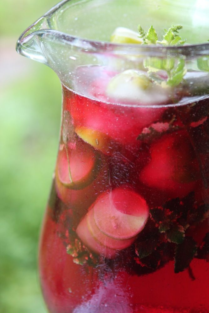 Hibiscus Mint Herbal Iced Tea with Key Lime Ice Cubes