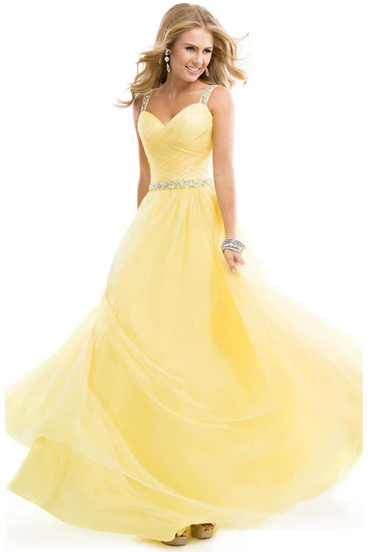 2014 Prom Dress Tulle Ball Gown With Jeweled Straps Yellow Open Back. dont know where id where this, but i WANT IT!