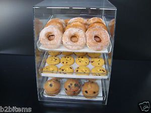 Donut bagels cookie display case with trays 50s display case