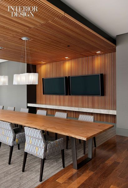 Vertical wood slat wallceiling Architecture Interior