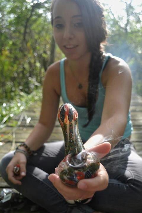 hippie woman smoking weed