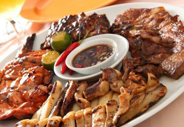 ... grilled marinated meats with soy sauce, vinegar, chili's dipping sauce