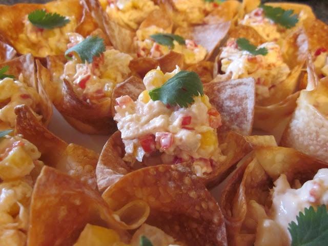 Tuna Wonton Cups - tuna mixed with corn and cream cheese, stuffed in ...