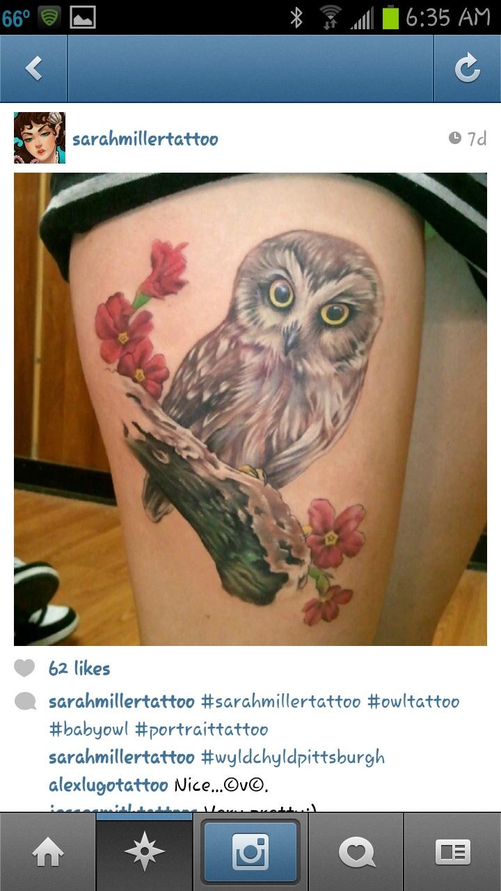 Owl On Branch Tattoo