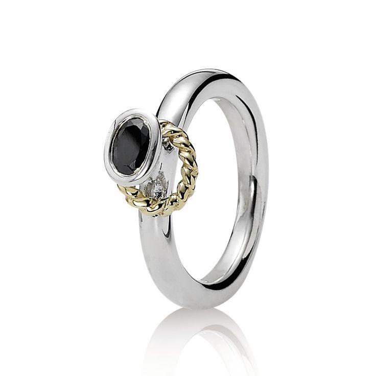 Pandora Silver Ring Black Stone