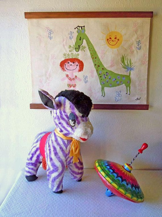 Vintage Toy 1960s Stuffed Animal Purple Striped by RecycledWares, $19.99