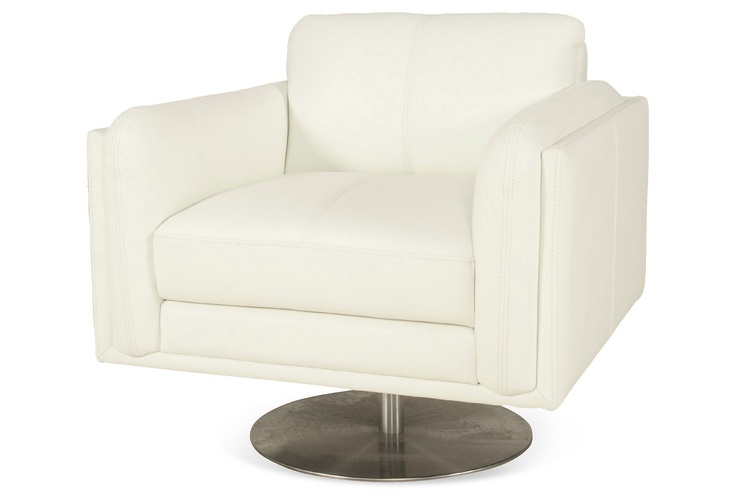 kings lane streamlined design sadie leather swivel chair white