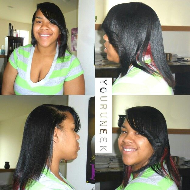 ... custom color black on top red on the bottom flat iron and silk wrap