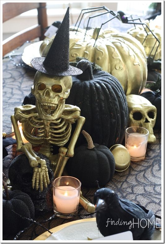 Finding Home Golden Skeleton, Halloween Tablescape