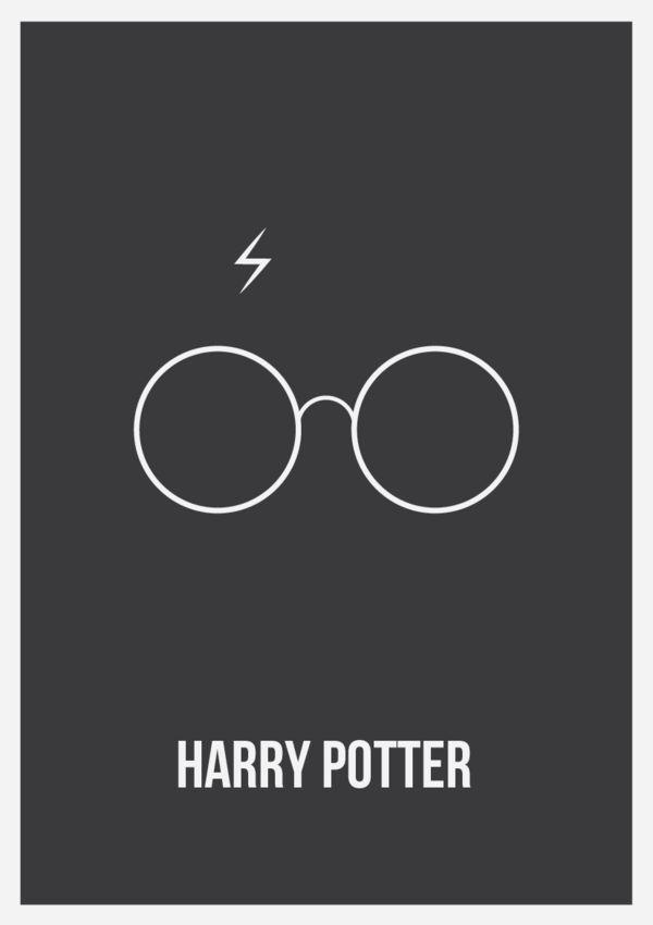 """Harry Potter Minimalist Poster; grappig eigenlijk, dat een bril en een """"litteken"""" genoeg zijn om te herkennen waar deze poster over gaat. Het laat zien dat het Harry Potter fenomeen nog steeds ontzettend groot is. De eenvoud en herkenbaarheid maken dat deze poster mij opviel."""
