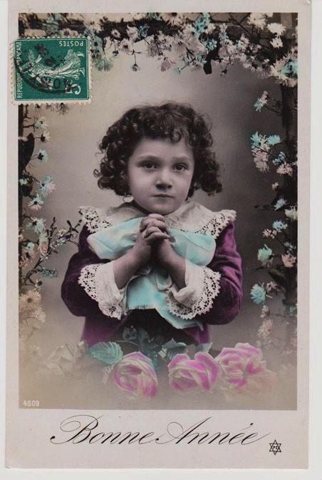 Bonne Annee, vintage photo postcard! Love little boy's clothes!