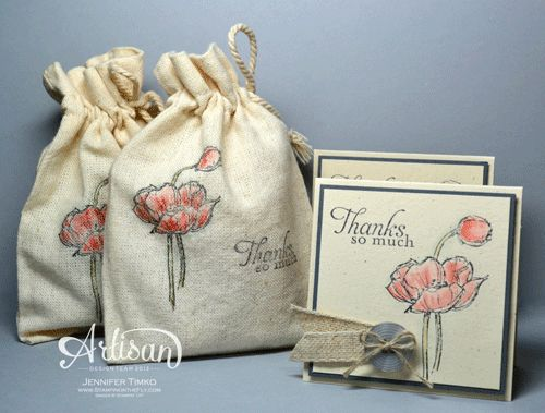We love how the card matches the stamped Mini Muslin Bag, they are adorable! See more on Stampin' Up!'s blog. #stampinup #papercrafting #stamping #gift