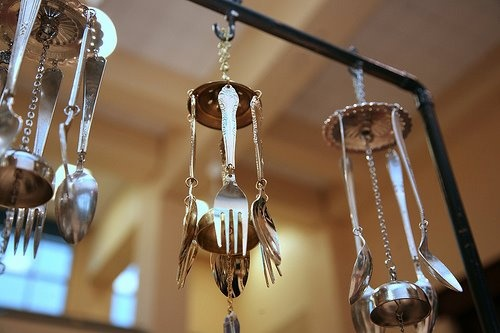 Make your own kitchen wind chime silverware pinterest for How to make a windchime out of silverware