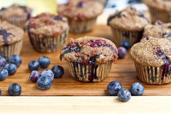 Whole Wheat, Low Sugar Blueberry Muffins