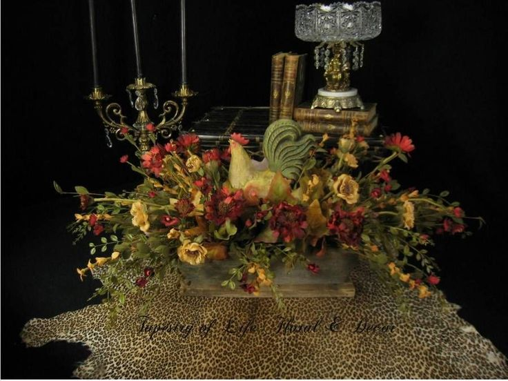 French country floral arrangement rooster large dining - French country table centerpieces ...