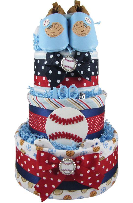 All Diaper Cakes - 3 Tier Sports Theme Diaper Cake, $84.95 (http://alldiapercakes.com/3-tier-sports-theme-diaper-cake/)