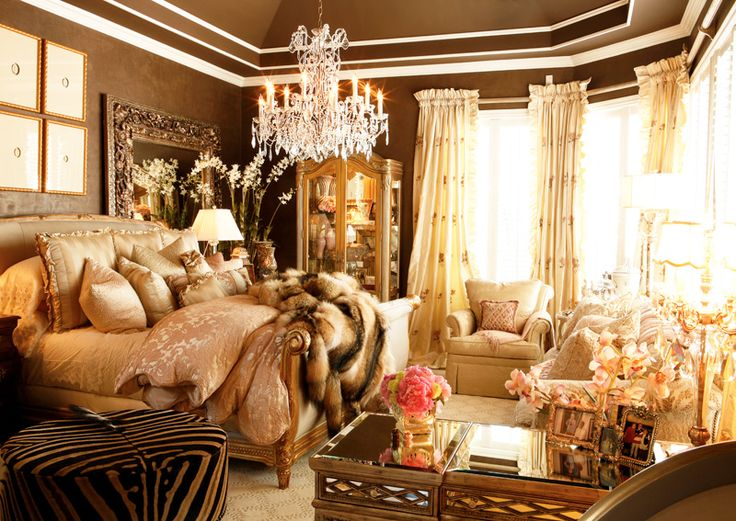 Cream And Brown Master Bedroom With Chrystal Chandelier