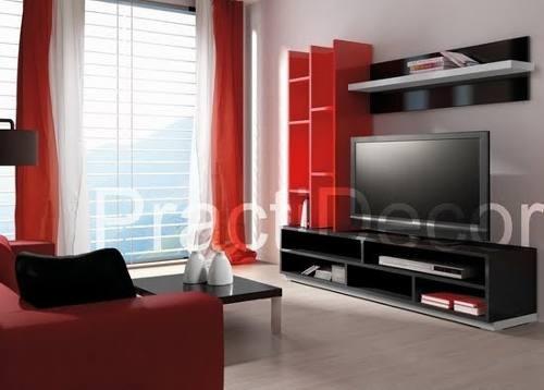 Mueble Modular Biblioteca Mesa Tv Lcd Estantes Practidecor