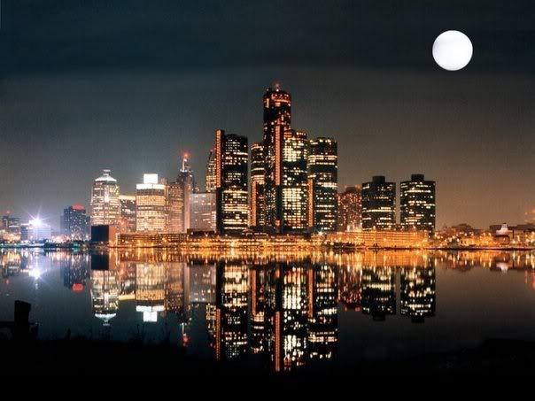 Detroit Skyline At Night Michigan And The Motor City Pinterest