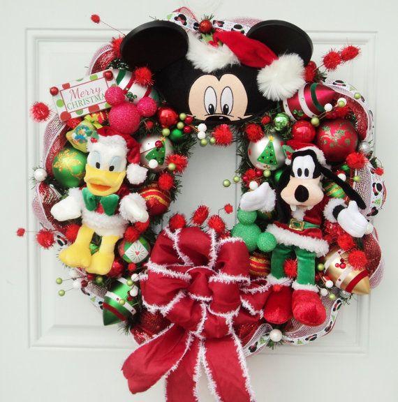 Disney christmas wreath donald duck and goofy on etsy 169 00
