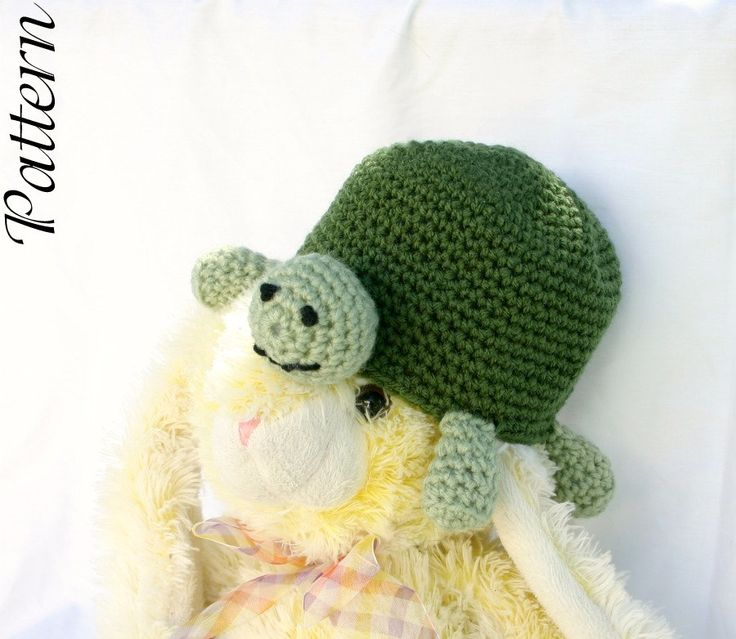 Crochet Pattern For A Turtle Hat : Baby turtle hat PDF crochet pattern 3-12 month beanie ...