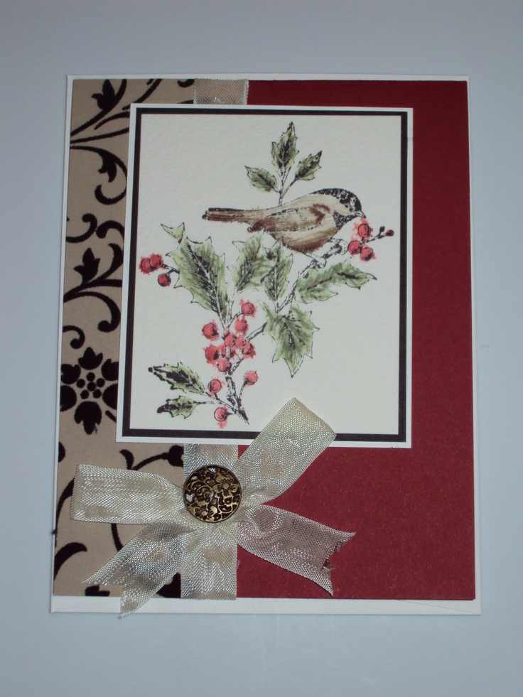 Handmade christmas bird card cards pinterest for Handmade christmas cards pinterest