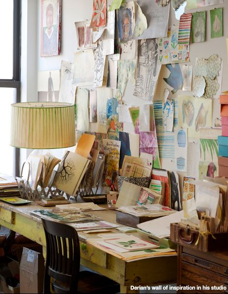 John Derian's inspiration wall