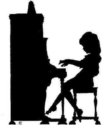 Girl playing piano silhouettePlaying Piano Silhouette