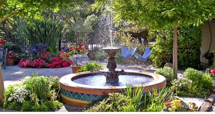 Courtyard fountain outdoor living pinterest for Spanish garden designs