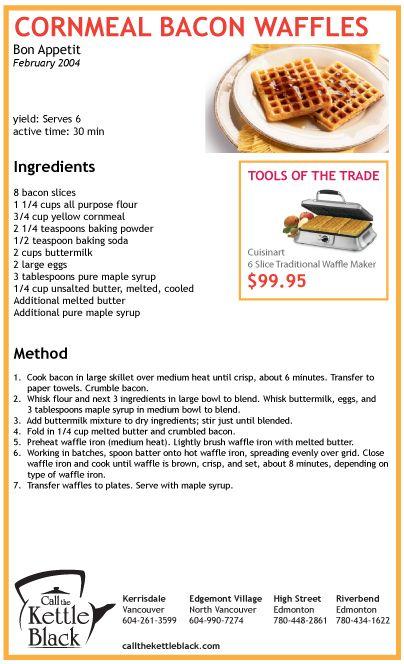 Cornmeal Bacon Waffles | A Manger et a Boire | Pinterest