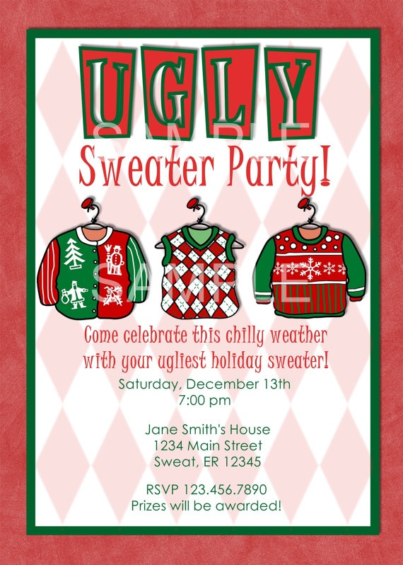 PRINTABLE UGLY SWEATER Holiday Christmas Party Customizable Invitation ...