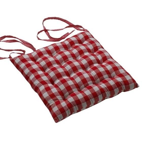 Galette de chaise carreaux rouge coussins et galette de for Galette de chaise 4 rabats