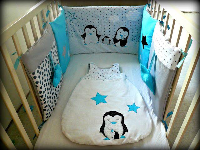 tour de lit pinguin gigoteuse couture enfant pinterest. Black Bedroom Furniture Sets. Home Design Ideas