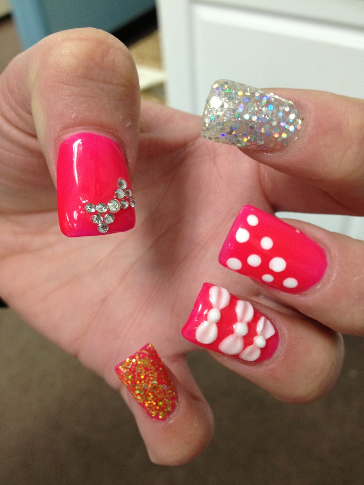 Nail Designs With 3d Bows | Nail Designs, Hair Styles, Tattoos and ...