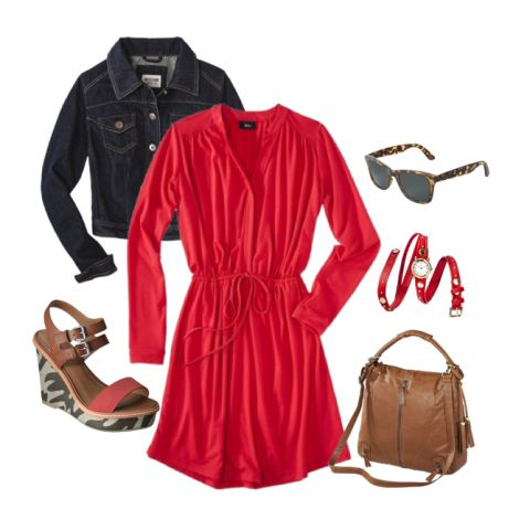 Lady in Red - Love the wedges and watch