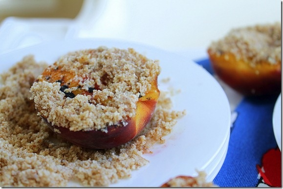 Grilled Peaches + Honey Almond Crumble | Desserts | Pinterest