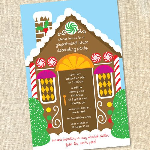 Gingerbread House Decorating Invitations for Kid's Christmas & Holiday Parties by Sweet Wishes Stationery