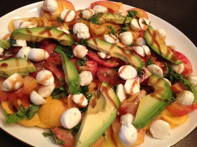 Heirloom Tomato Salad With Avocado, Mozzarella, Basil & Balsamic ...