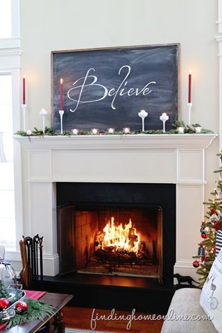 Christmas Mantel Decorating and an easy DIY chalkboard tutorial
