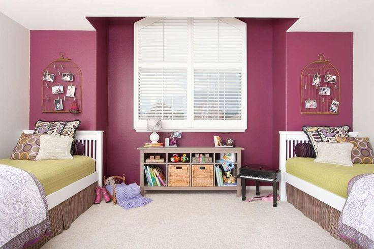 Shared girls bedroom featuring amethyst and plum professional