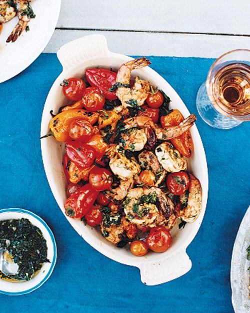 Grilled Shrimp with Peppers, Tomatoes, and Chimichurri, Wholeliving.com