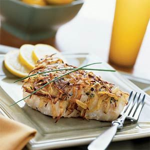 Potato-chive crusted halibut. I'm making this for dinner sometime for ...