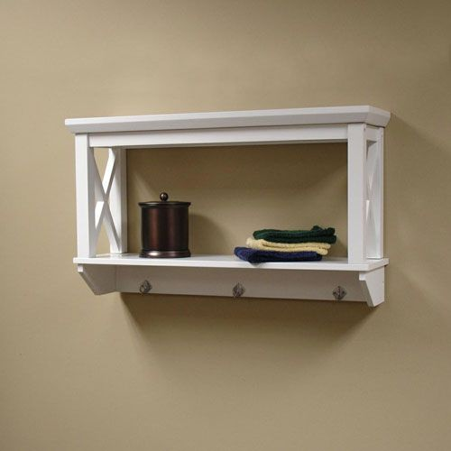 x frame white bathroom wall shelf riverridge home products. Black Bedroom Furniture Sets. Home Design Ideas