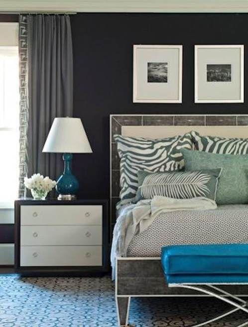 BRIAN WATFORD - charcoal grey and teal bedroom